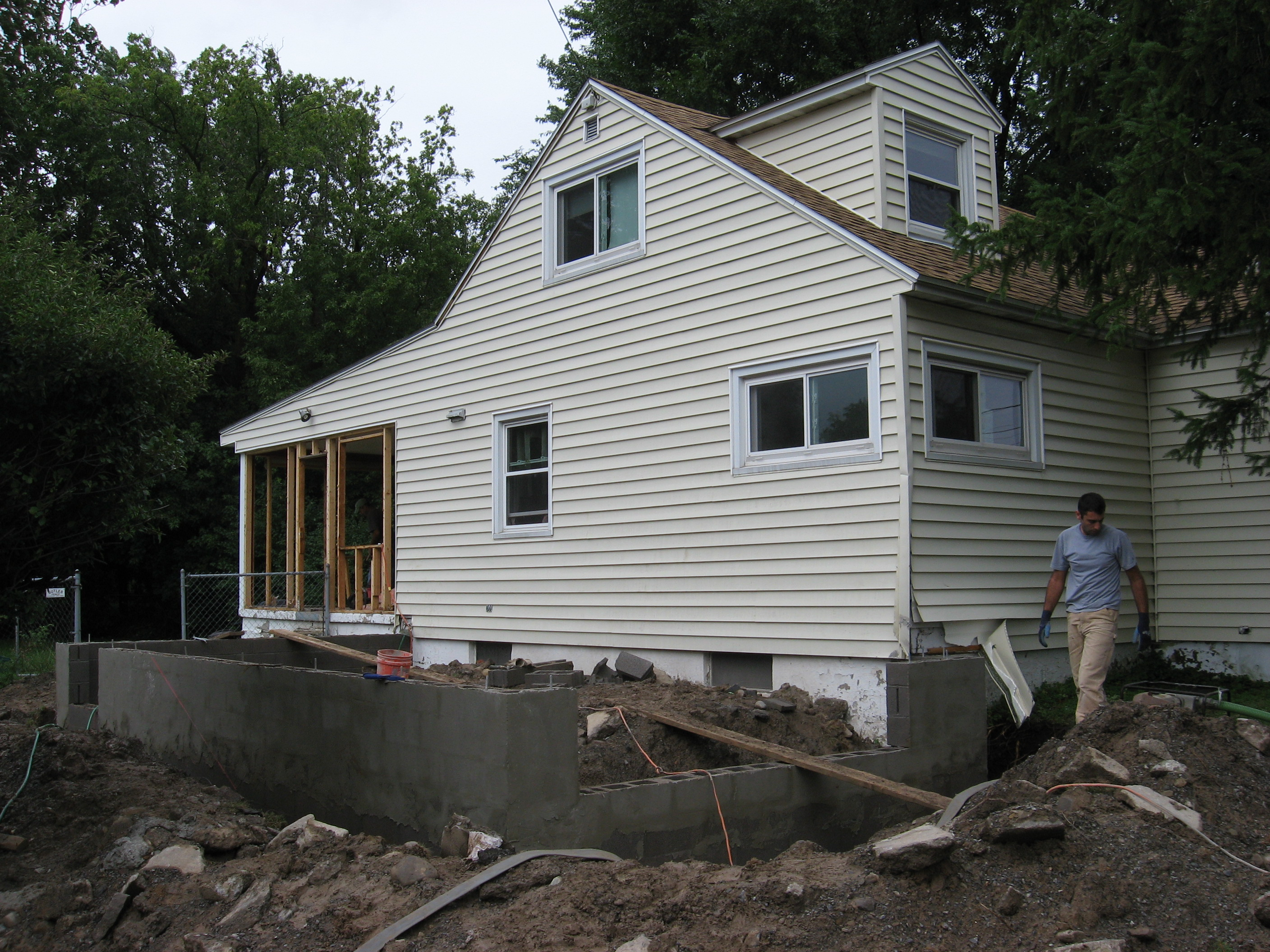 Excavation and new foundation for home addition