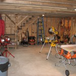 Workshop inside newly-constructed barn