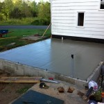 Freshly bull-floated concrete slab