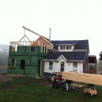 Framing progress; walls sheathed with weather-resistant ZipWall