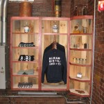 Albany Distilling Company merchandise shelving constructed using local rough sawn pine, maple plywood, and maple hardwood