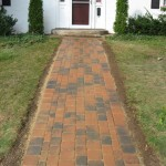 New tumbled brick paver walkway