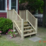 New pressure treated staircase with landing