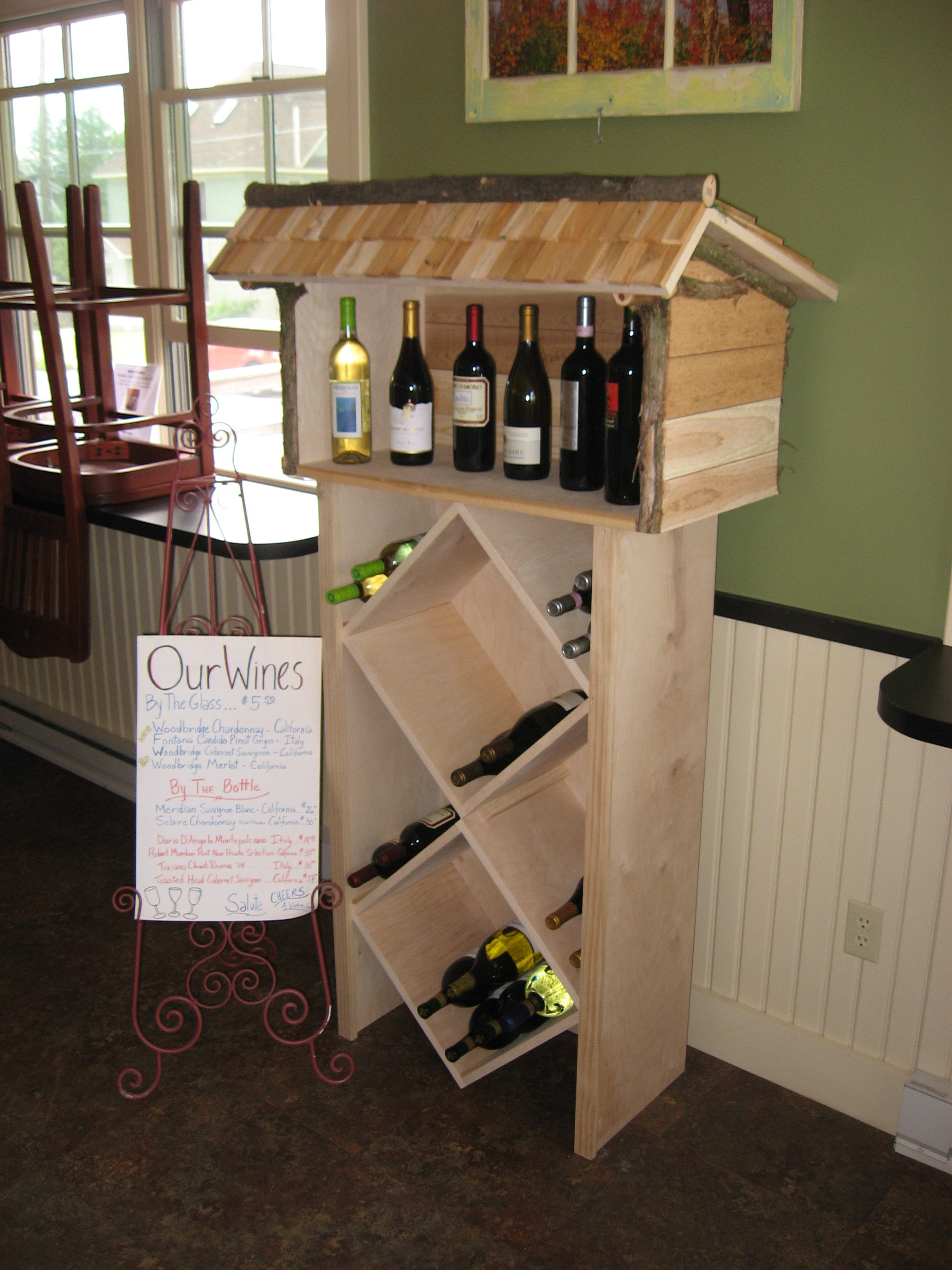 Adirondack-style lean-to wine rack